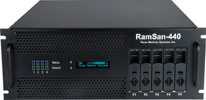 The RamSan-440 solid-state disk offers storage capacity ranging from 256 GB to 512 GB